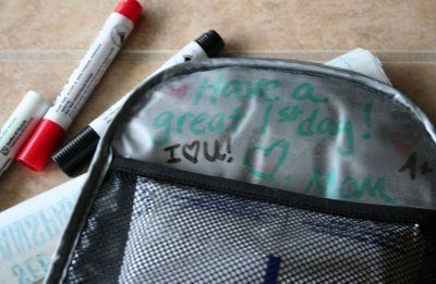 Dry Erase notes inside the lunch box from Mom :) Super Sweet! ♥