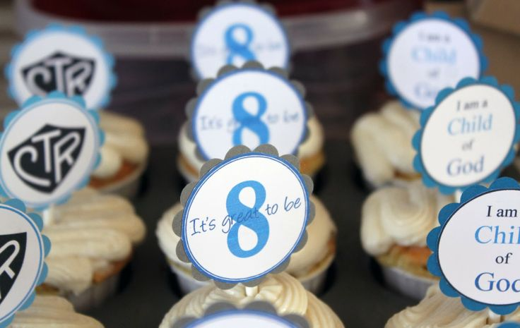 Great to Be Eight: LDS baptism cupcake toppers..