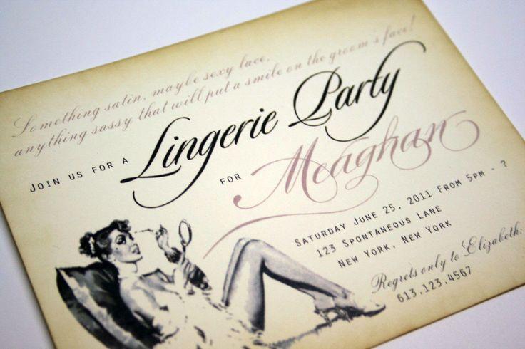 Vintage Bachelorette Invitations Lingerie Shower Invitations Bridal shower invitations with pearlized pink envelopes -  set of 40. $120.00, via Etsy.