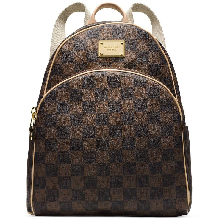 MICHAEL Michael Kors Jet Set Backpack in Black \u0026 Brown Checkerboard Print