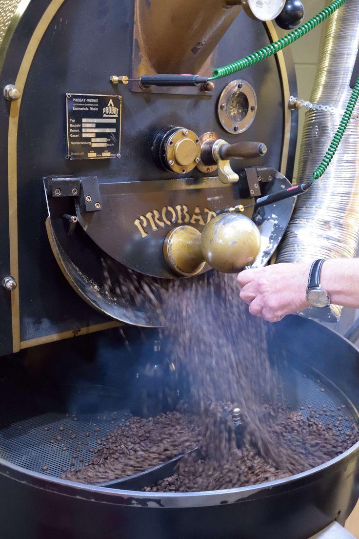Coffee roasting in the morning in Kapucziner. www.kapucziner.hu Hungary, Gyor, Sarlo koz 9.