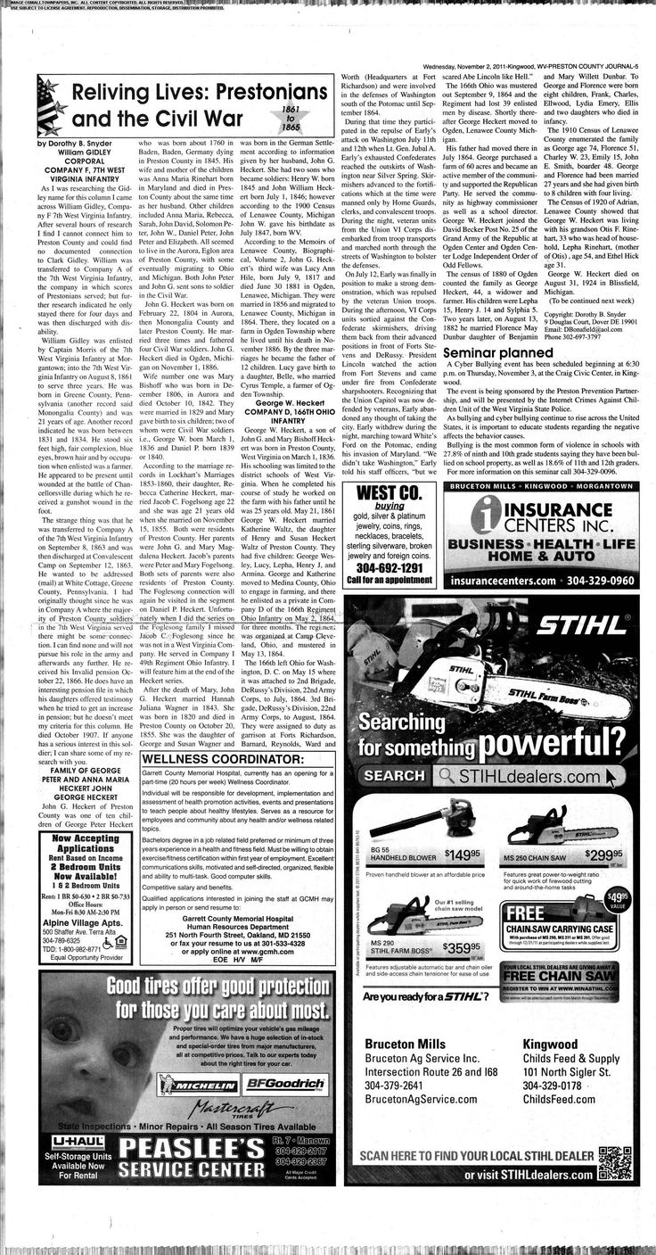 Welcome to The Preston County Journal newspaper archive. The Preston County Journal ,  2011 Page