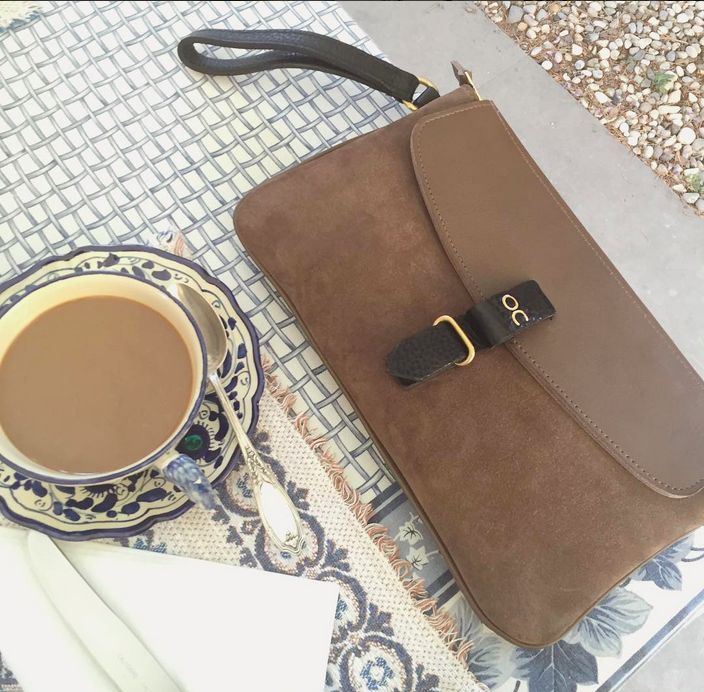 Our Olive Clutch in Taupe Ox Suede & Leather - Available at olivecooper.com