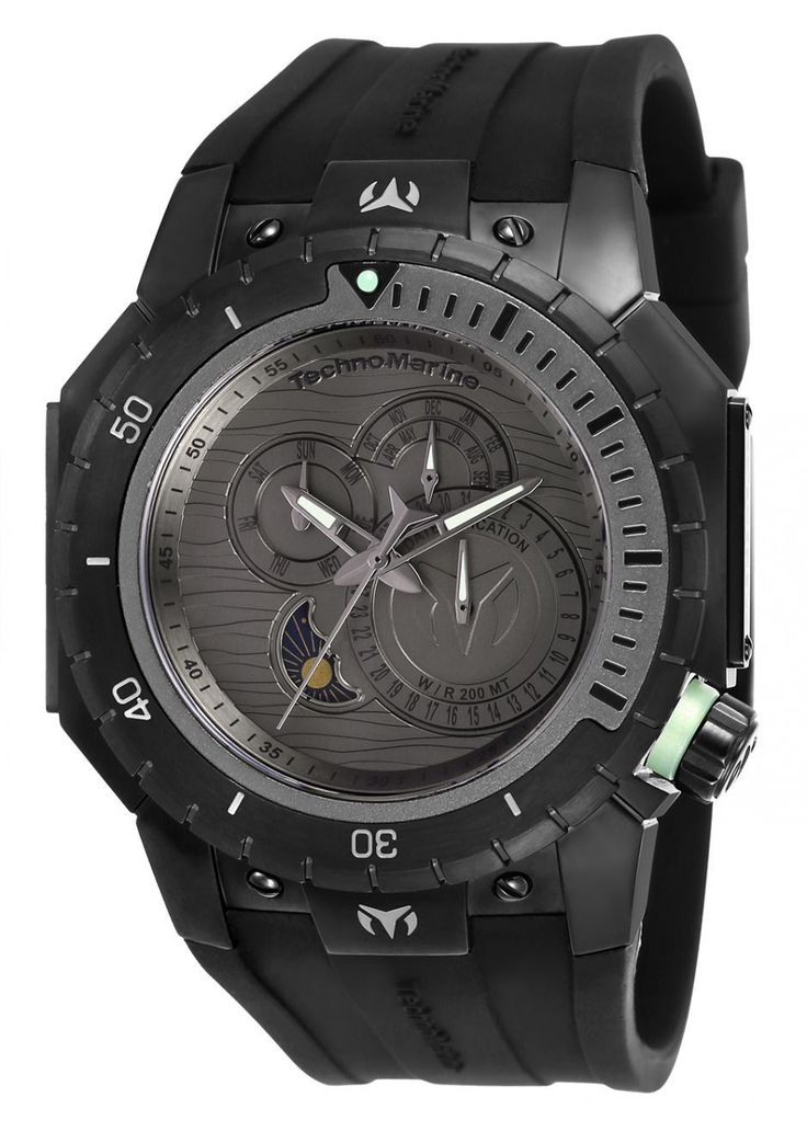 Technomarine TM-216009 Mens Multifunction Watch 48mm Gunmetal Dial Manta Diver Black Rubber Strap 200M