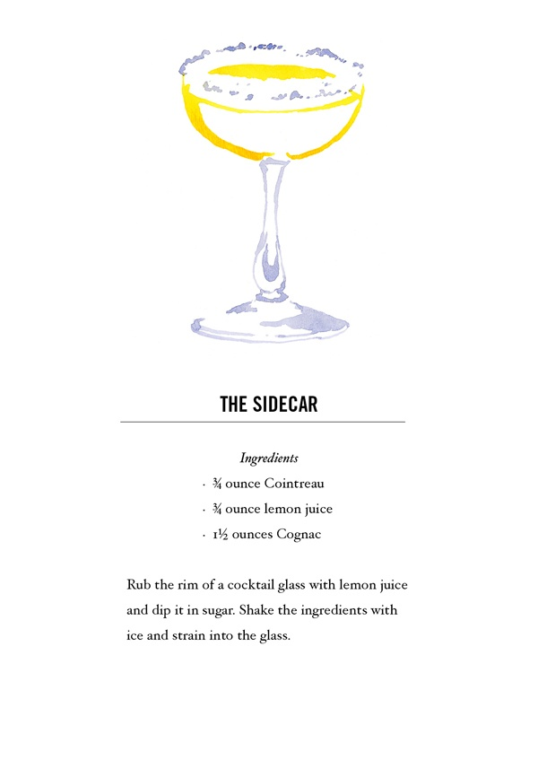Sidecar Cocktail Recipe Card. Postcard back. Buy all 12 here: https://www.etsy.com/listing/118013624/classic-cocktail-recipe-cards-12