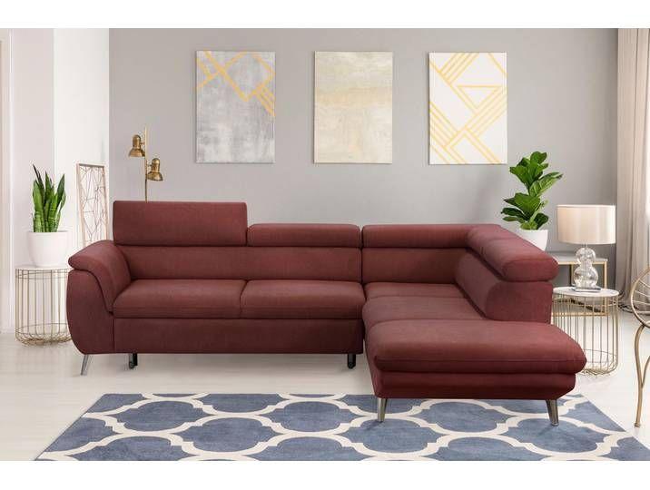 Wersal Ecksofa Mit Bettfunktion Rot Struktur Weich Couch