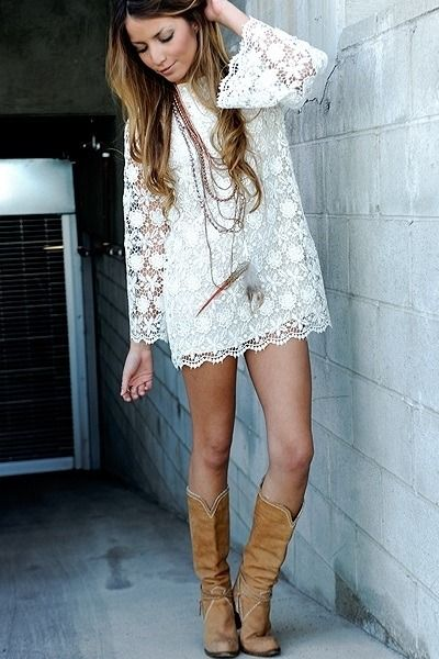 Gotta find something like this for my country NYE! Dress + cowboy boots