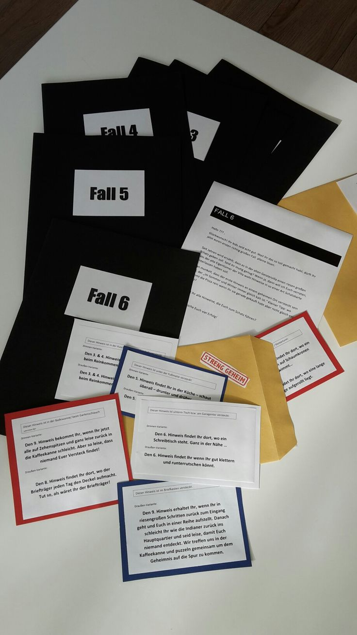 Fall Nr. 6 : kleine Schnitzeljagd. in der geistervilla ist ein Schatz versteckt. der verstorbene Eigentümer hat Hinweise für eine schatzkarte versteckt. in jedem Umschlag befindet sich ein Puzzle teil der Karte und ein Hinweis wo der nächste Umschlag zu finden ist. auf den Karten ist eine drinnen - und draussen Variante gedruckt. so kann man wetter -flexibel bleiben und es ist alles vorbereitet falls es dich plötzlich regnet...