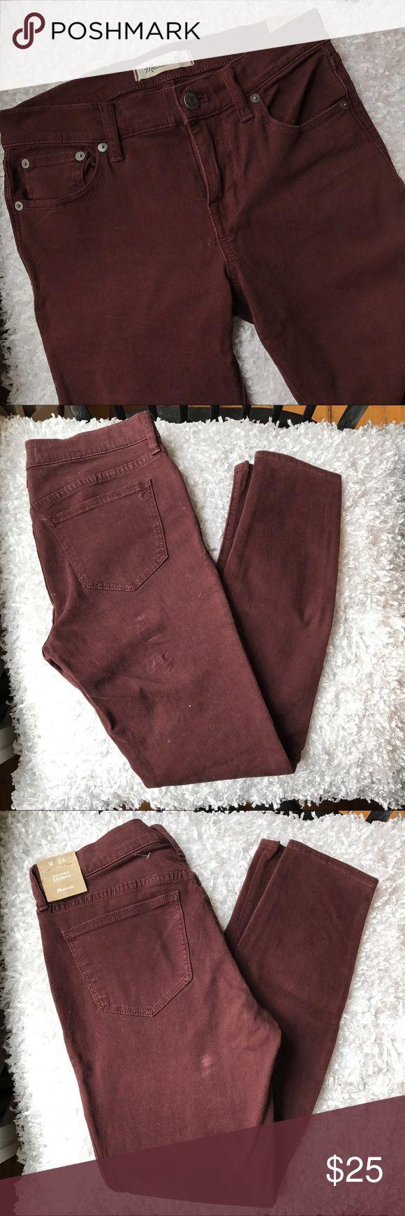 Selling this NWT Madewell maroon skinny jeans on Poshmark! My username is: laurlis. #shopmycloset #poshmark #fashion #shopping #style #forsale #Madewell #Denim