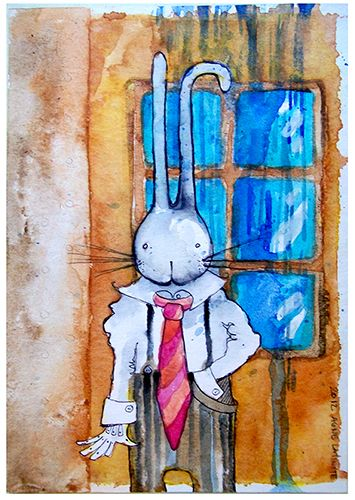 Even though it was raining outside mister Rabbit today was in a very good mood.