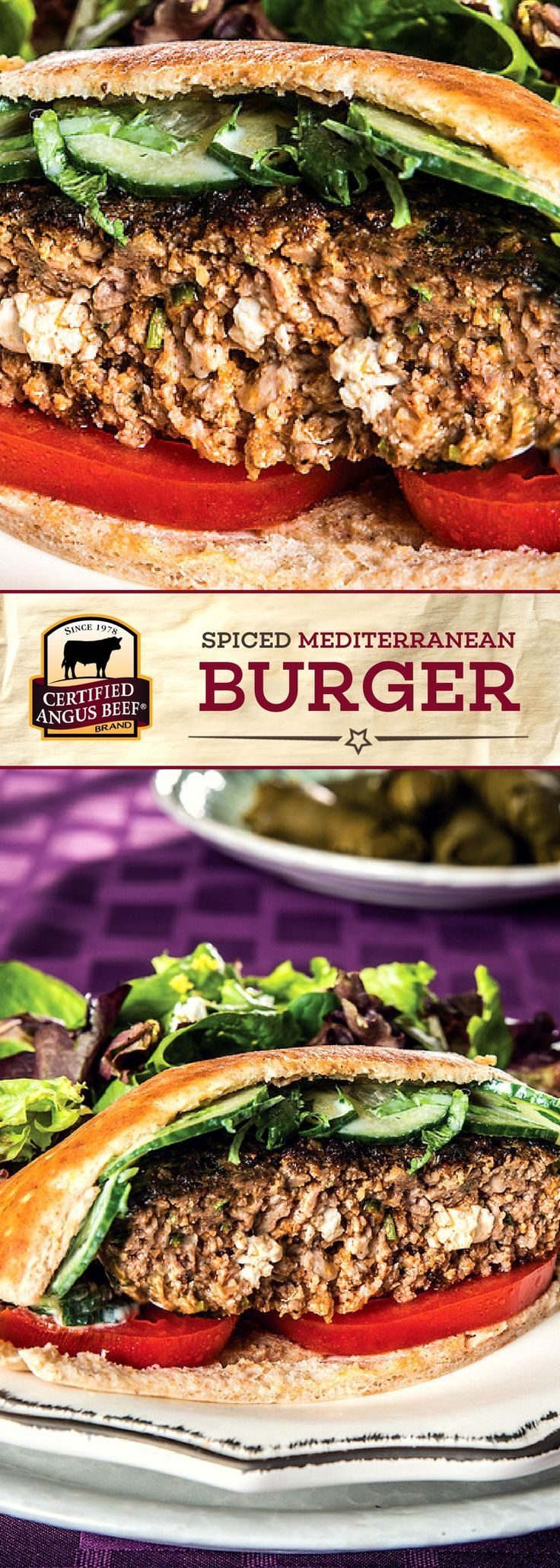 Certified Angus Beef®️️️ brand Spiced Mediterranean Burger is made with the BEST ground beef, mixed with a FLAVORFUL blend of spices, parsley, and crumbled Feta cheese. This EASY burger recipe is a MUST-TRY! #bestangusbeef #certifiedangusbeef #beefrecipe #burgerrecipe