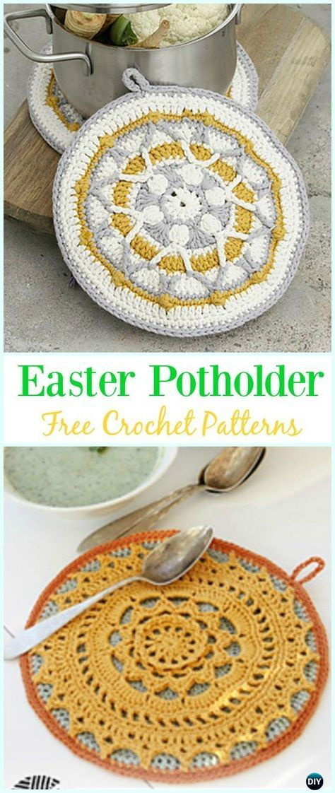 Crochet Easter Sun Potholder Free Pattern- #Crochet; # Potholder ...