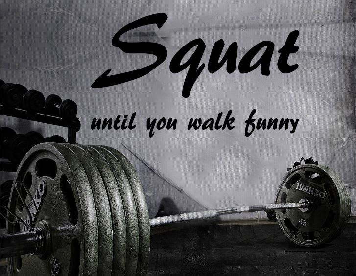 Fitness Motivation Home Gym Wall Decal - Squat Until You Walk Funny