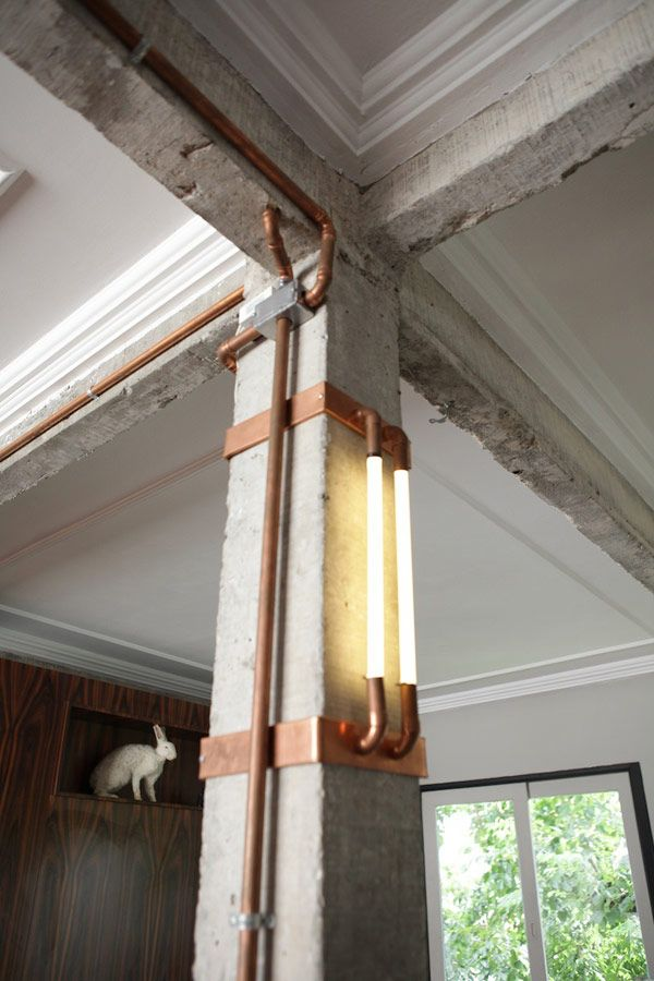 exposed duct lighting | industrial modern apartment | by mila strauss + marcos paulo caldeira