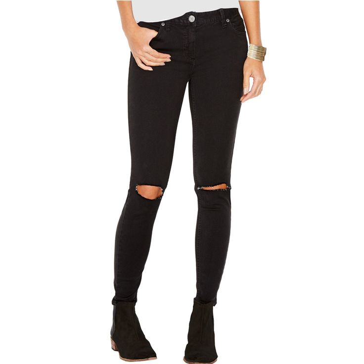 Free People stretch skinny crop jeans feature destroyed knee tears and frayed edges. What you need to know is that the fabric is imported 92% cotton, 7% polyester and 3% spandex. Runs true to size. Wa