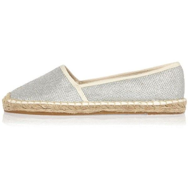 River Island Silver metallic espadrilles (€23) ❤ liked on Polyvore featuring shoes, sandals, espadrilles, shoes / boots, silver, women, round toe shoes, espadrille sandals, round cap and silver sandals