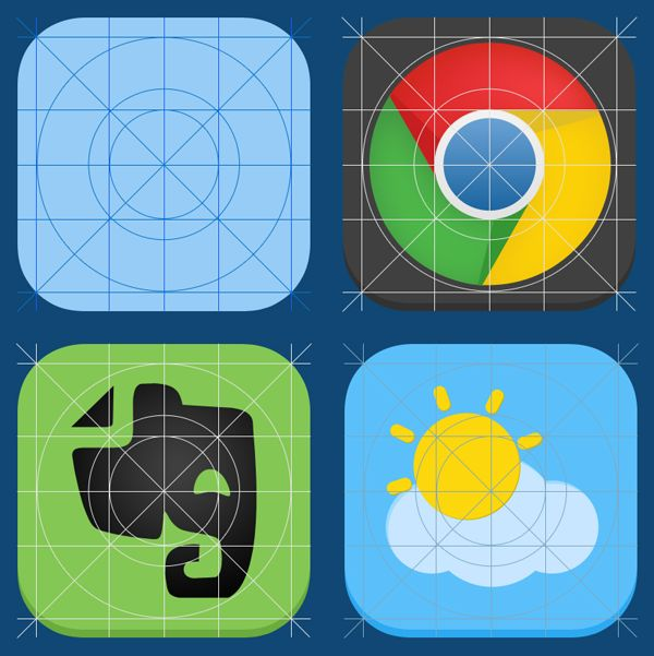 Free iOS 7 App Icon Guide by Seevi Kargwal. #freebie #psd #download #iOS7