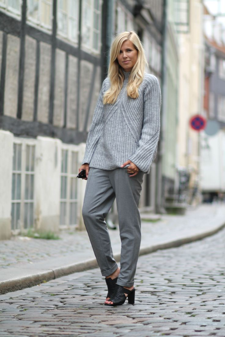 All Grey in grey knit, grey pants and golden details. See full outfit on natulia.com