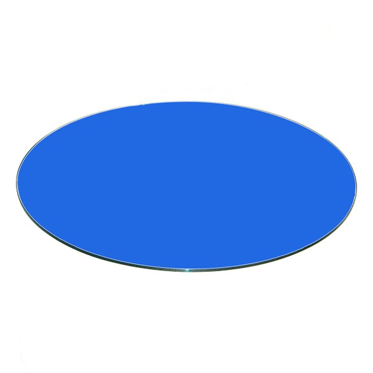 Fab Glass and Mirror Blue Back Painted Round Glass Table Top 0.37 in. Thick Tempered Flat Edge - CB-40RT10THFPTE
