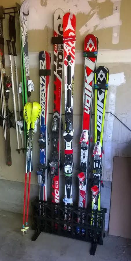 Freestanding, Portable Ski Rack For Your Garage   No Mounting Or  Installation Required!