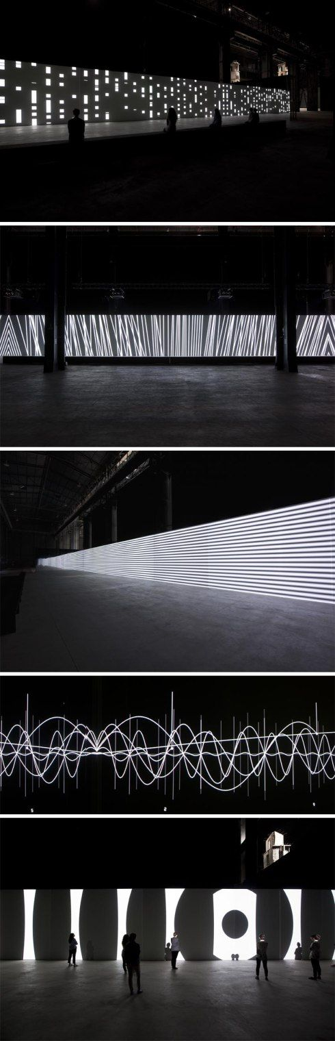 "Carsten Nicolai, ""Unidisplay,"" 40 meter long audiovisual installation, at Hangar Bicocca in Milan."