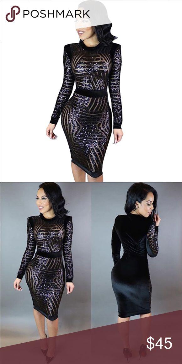 *COMING SOON*Women's Bodycon Bandage Dress Sheath Women O Neck Long Sleeve Geometric Bodycon Bandage Dress Sheath Mesh Sequined Party Dresses ***Large fits Medium Dresses Midi