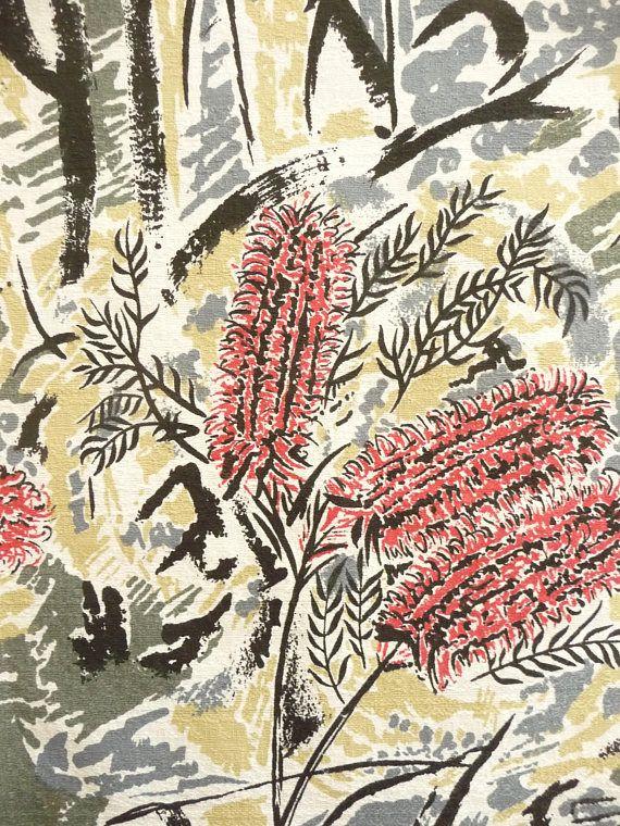 Banksia Print Bark Fabric Vintage New