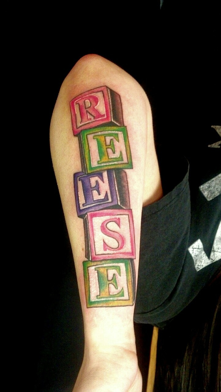 Daughter 39 s name in baby blocks tattoo tat ideas for Daughter name tattoo ideas