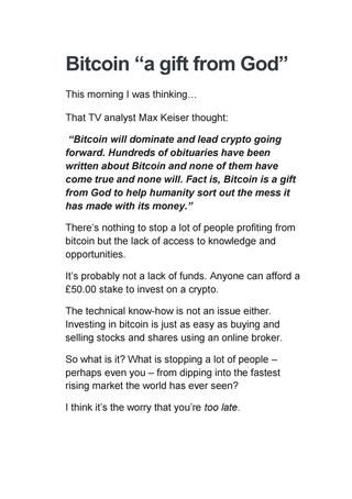 Bitcoin a gift from God  Bitcoin revolution is changing the way people see wealth creation
