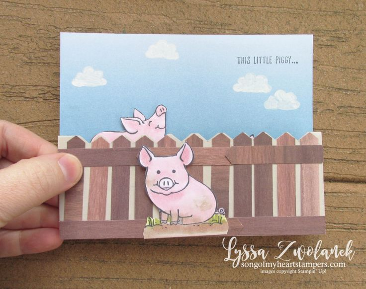 This Little Piggy fancy fold pop up punch art card