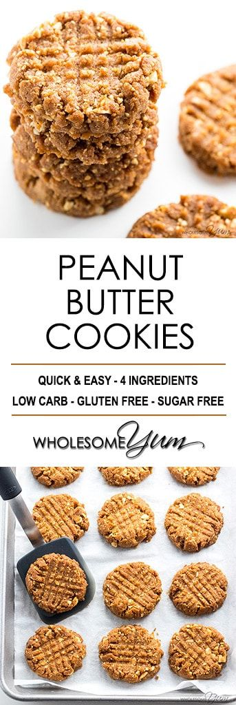 Sugar-Free Low Carb Peanut Butter Cookies Recipe - 4 Ingredients - Want to know how to make homemade peanut butter cookies without flour? You'll love this sugar-free low carb peanut butter cookies recipe. #LowCarb #GlutenFree #Cookies