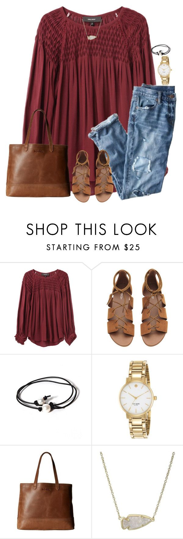 """""""Untitled #1704"""" by southernstruttin ❤ liked on Polyvore featuring Isabel Marant, J.Crew, Joie, Kate Spade, SOREL and Kendra Scott"""