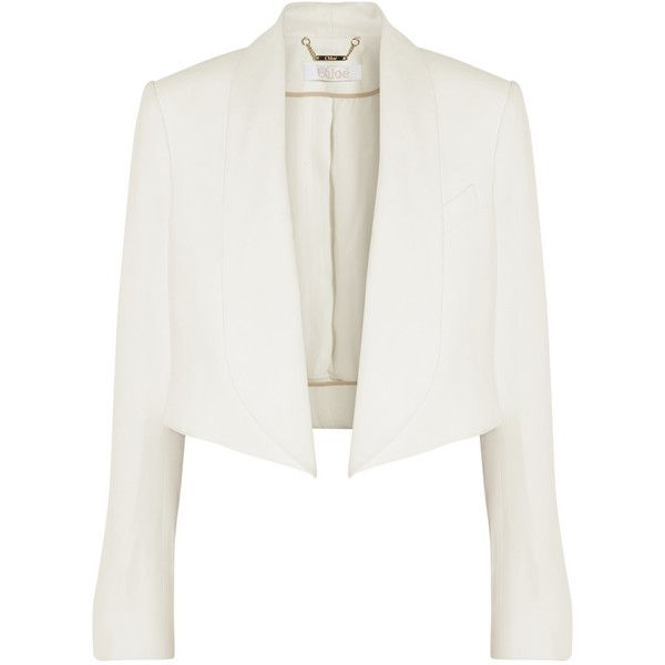 Chloé Cropped crepe blazer (£314) ❤ liked on Polyvore featuring outerwear, jackets, blazers, coats, takit, ivory, open front blazer, winter white blazer, open front jacket and crepe blazer