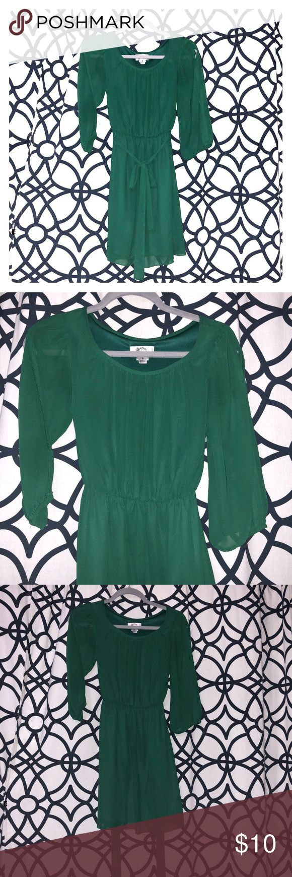 Green mini dress with belt Green mini dress with belt, gently used. Sweet Storm Dresses Mini