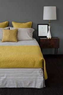 bedroom colors: Colors Combos, Grey Bedrooms, Guest Bedrooms, Gray Bedroom, Yellow Bedrooms, Grey Wall, Colors Schemes, Guest Rooms, Gray Wall