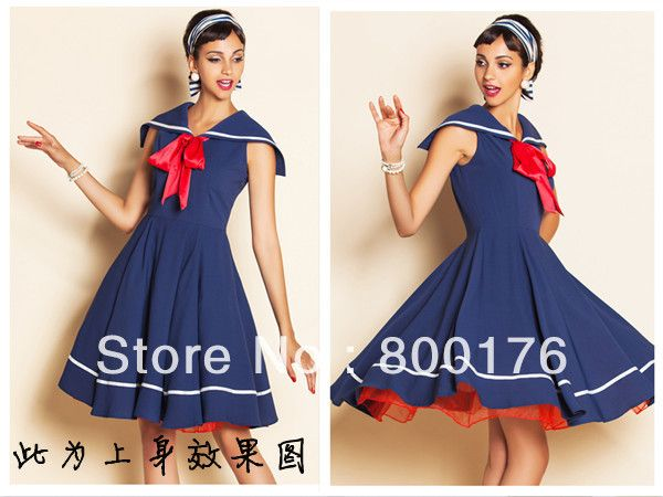 Free Shipping New Ladies Styles 50s Rockabilly Vintage Swing Dress Sailor Navy Blue Vintage Dress Sailor Vintage Dress-in Dresses from Appar...