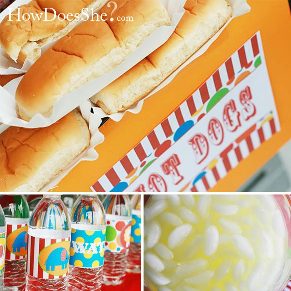 Carnival birthday bash carnivals hot dogs and water bottles - Carnival foods ideas ...