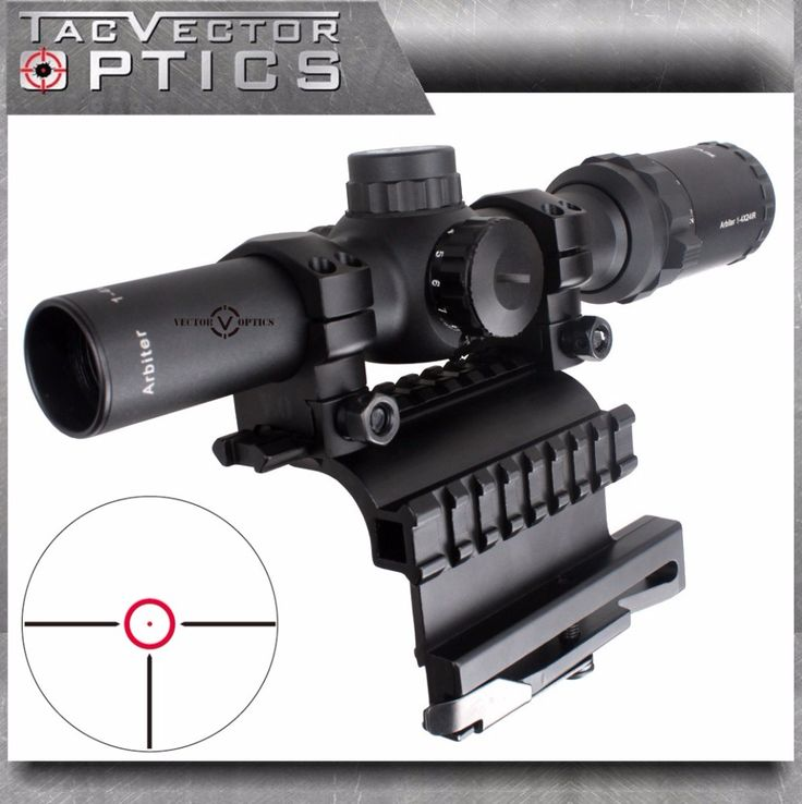 Vector Optics AK 47 74 1-4x 24mm Tactical Real Firearm Clear Rifle Scope with QD Side Riflescope Mount fit AK47 AK74 SVD Rifles