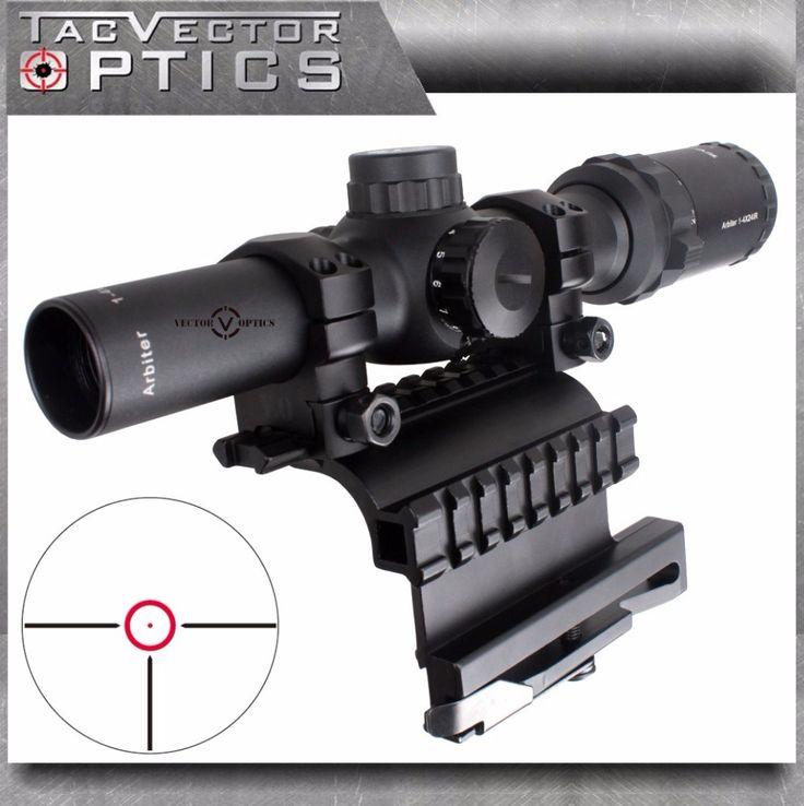 Vector Optics AK 47 74 1-4x 24mm Tactical Real Firearm Clear Rifle Scope with QD Side Riflescope Mount fit AK47 AK74 SVD Rifles