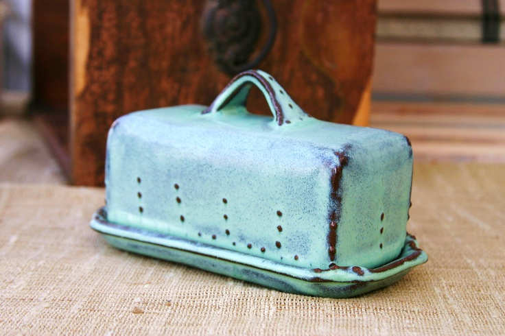 Covered Butter Dish - Aqua Turquoise Mist - French Country Home Decor. $34.00, via Etsy.