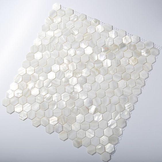 TST Mother Of Pearl Tiles White Hexagon Shinning Wall Deco Backsplash Shell