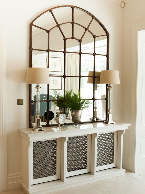 Bespoke Radiator Cover With Quartz Top Doubles As A Beautiful Console Table.  Designed By Missi Gray Interior Design.