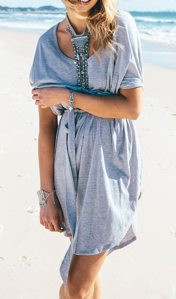 Grey and casual. Living comfortably in this dress :)