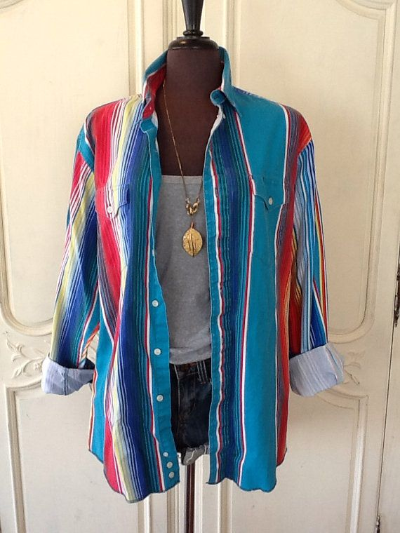 Vintage Wrangler Turquoise and Rainbow Colored Unisex Denim Shirt in a Mens Size 16 1/2 Women's s Size L on Etsy, $18.00