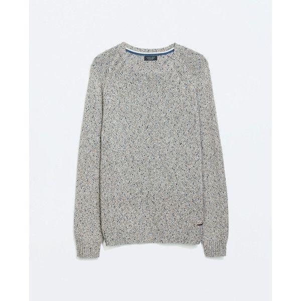 Zara Twist Yarn Sweater (100 BRL) ❤ liked on Polyvore featuring men's fashion, men's clothing, men's sweaters, brown, mens brown sweater and zara mens sweaters