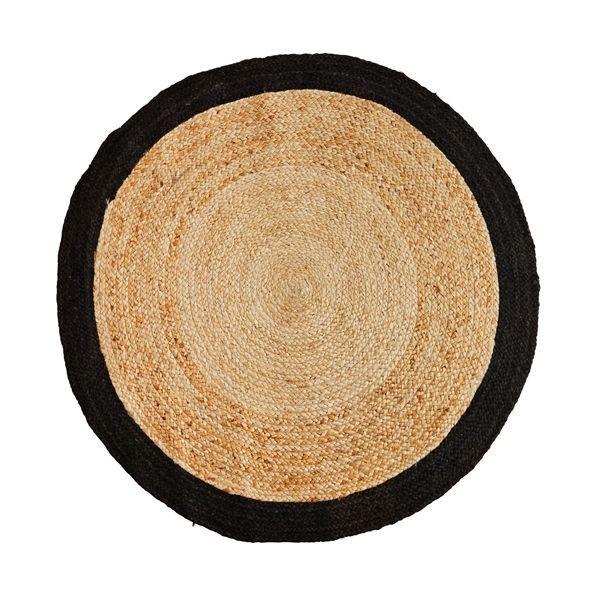 Madam Stoltz Madam Stoltz  Jute tapijt rond   zwart 120cm