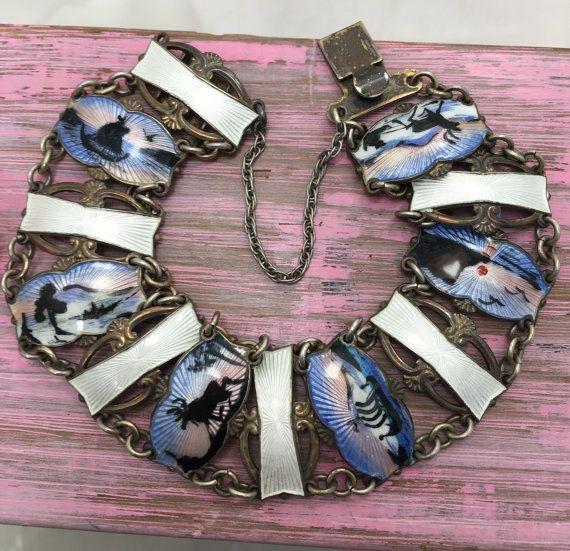 RAINDEER, Vintage Norway enamel sterling silver bracelet, Ivar T. Holth…