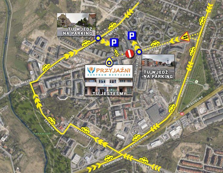 Jak do nas dojechać samochodem? Najlepiej wjechać od ulicy Krzyckiej i zatrzymać się na parkingu na tyłach budynku, gdzie znajduje się przychodnia. Natomiast dojeżdżając ulicą Przyjaźni od strony alei Karkonoskiej trzeba wjechać na parking na wysokości ulicy Braterskiej, skąd trzeba jeszcze dojść ok. 150 m na pieszo do przychodni. Centrum Medyczne PRZYJAŹNI, ul. Przyjaźni 111A, Wrocław, tel. 713001272, 713001273