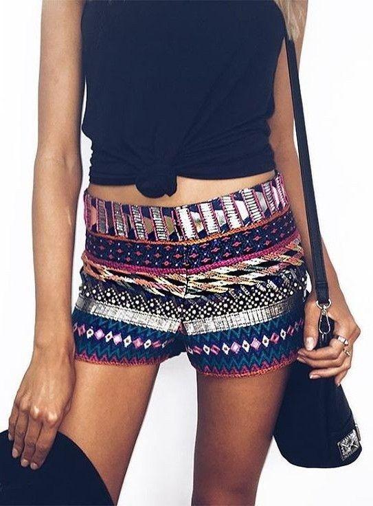 #summer #princesspollyboutique #outfits | Black Top + Embellished Shorts