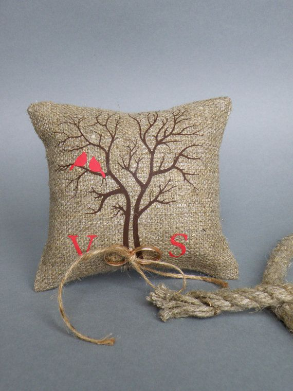 Wedding rustic natural linen Ring Bearer Pillow Red by pastinshs, $25.00
